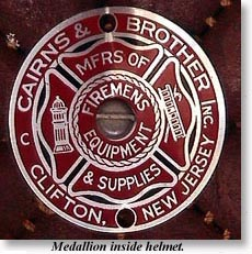 Photograph of Cairns' SFFD helmet