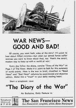 Photo of San Francisco News page promoting its 'Diary of the War' 1942